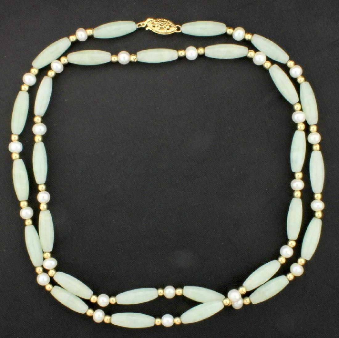 26 1/2 Inch Jade & Pearl Necklace