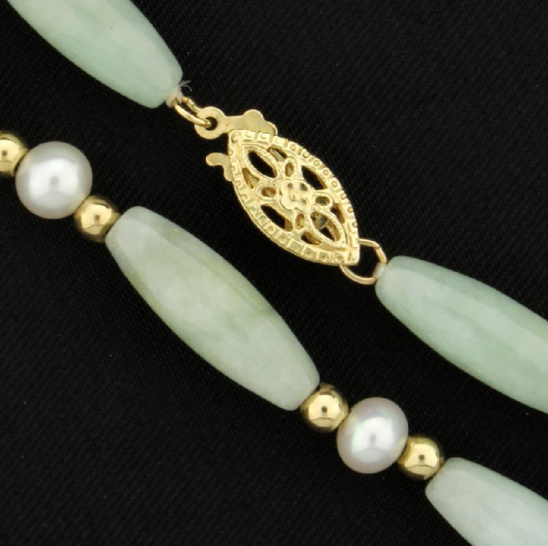 26 1/2 Inch Jade & Pearl Necklace - 2