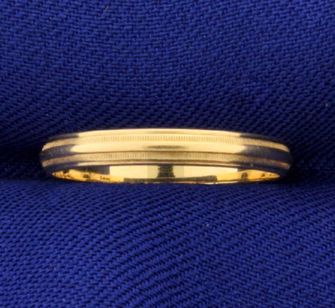 Beaded Edge 14k Gold Band Wedding Ring