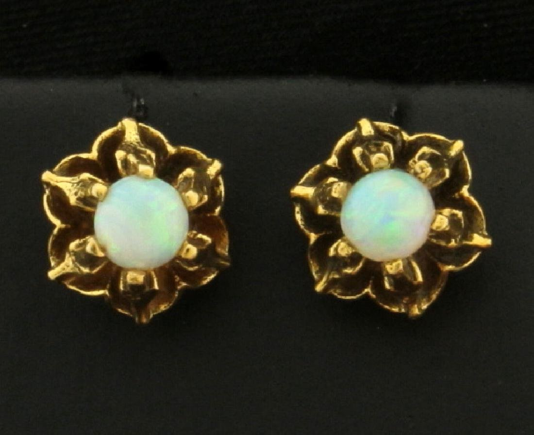 Vintage Natural Opal Flower Earrings in 14k Gold