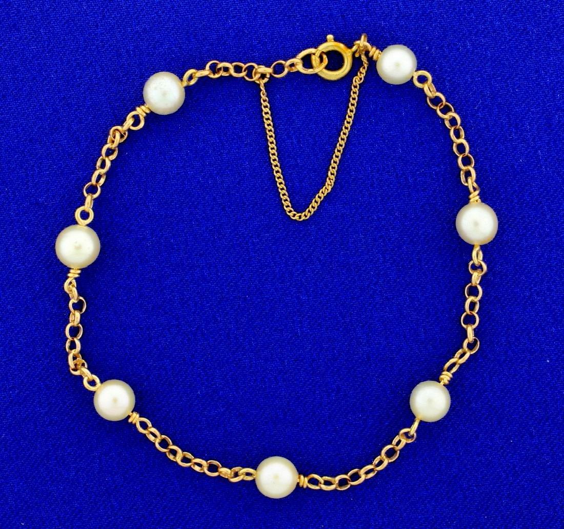 Cultured Pearl & 18k Gold Link Bracelet
