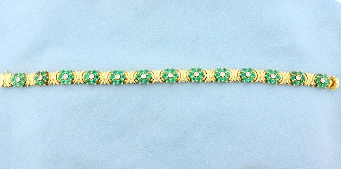 Emerald & Diamond Flower Bracelet