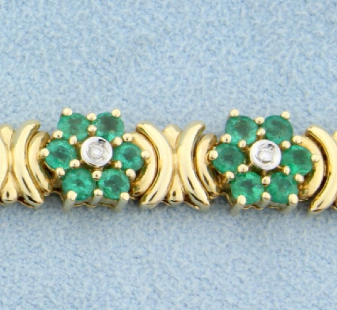 Emerald & Diamond Flower Bracelet - 2