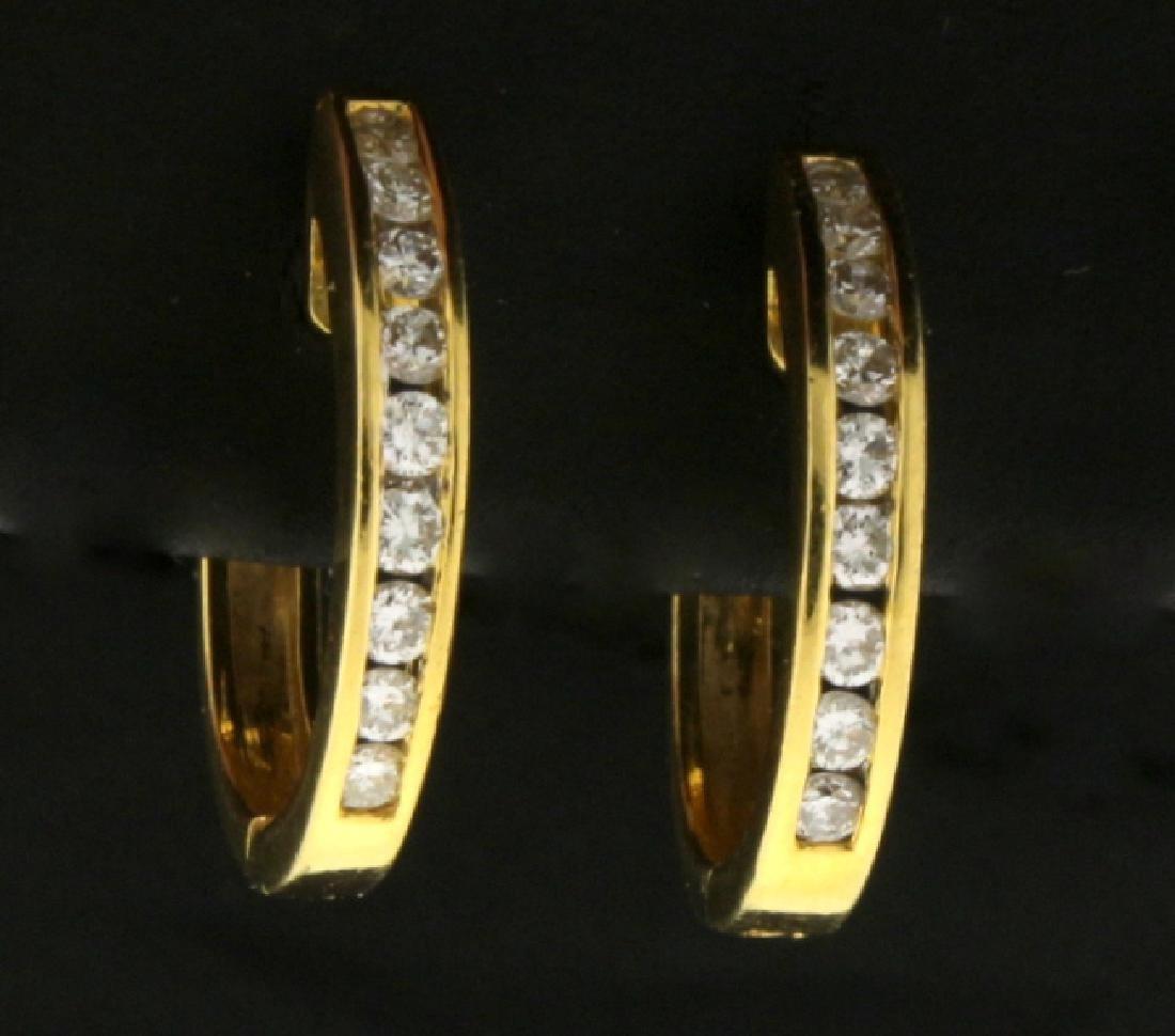 1/2ct TW Diamond Hoop Earrings in 18k Gold