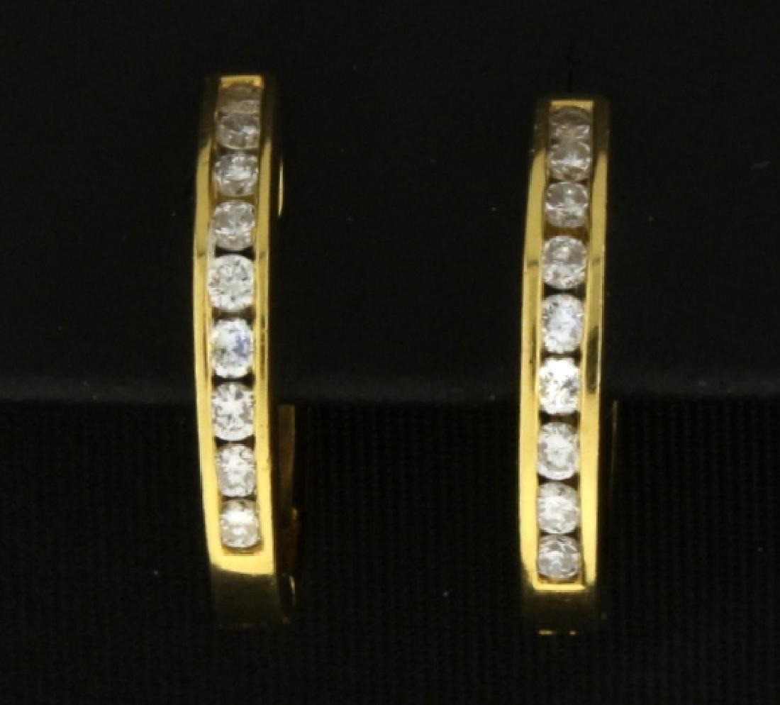 1/2ct TW Diamond Hoop Earrings in 18k Gold - 2