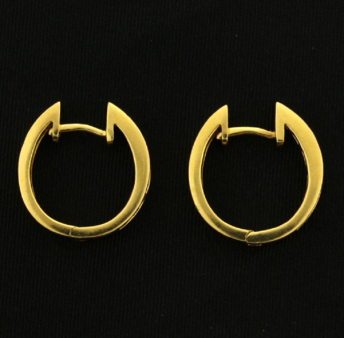 1/2ct TW Diamond Hoop Earrings in 18k Gold - 3