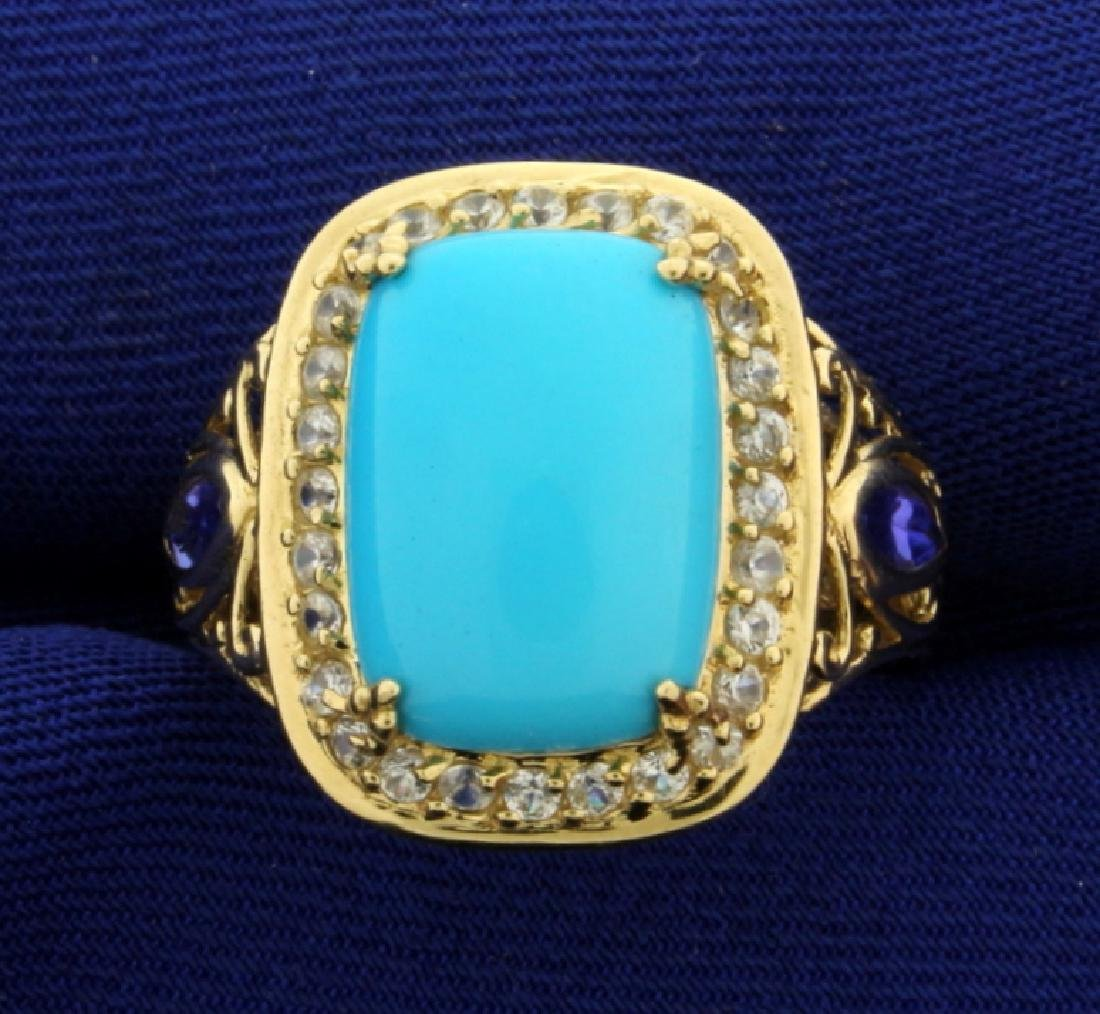 Persian Turquoise, Tanzanite, and White Sapphire Ring