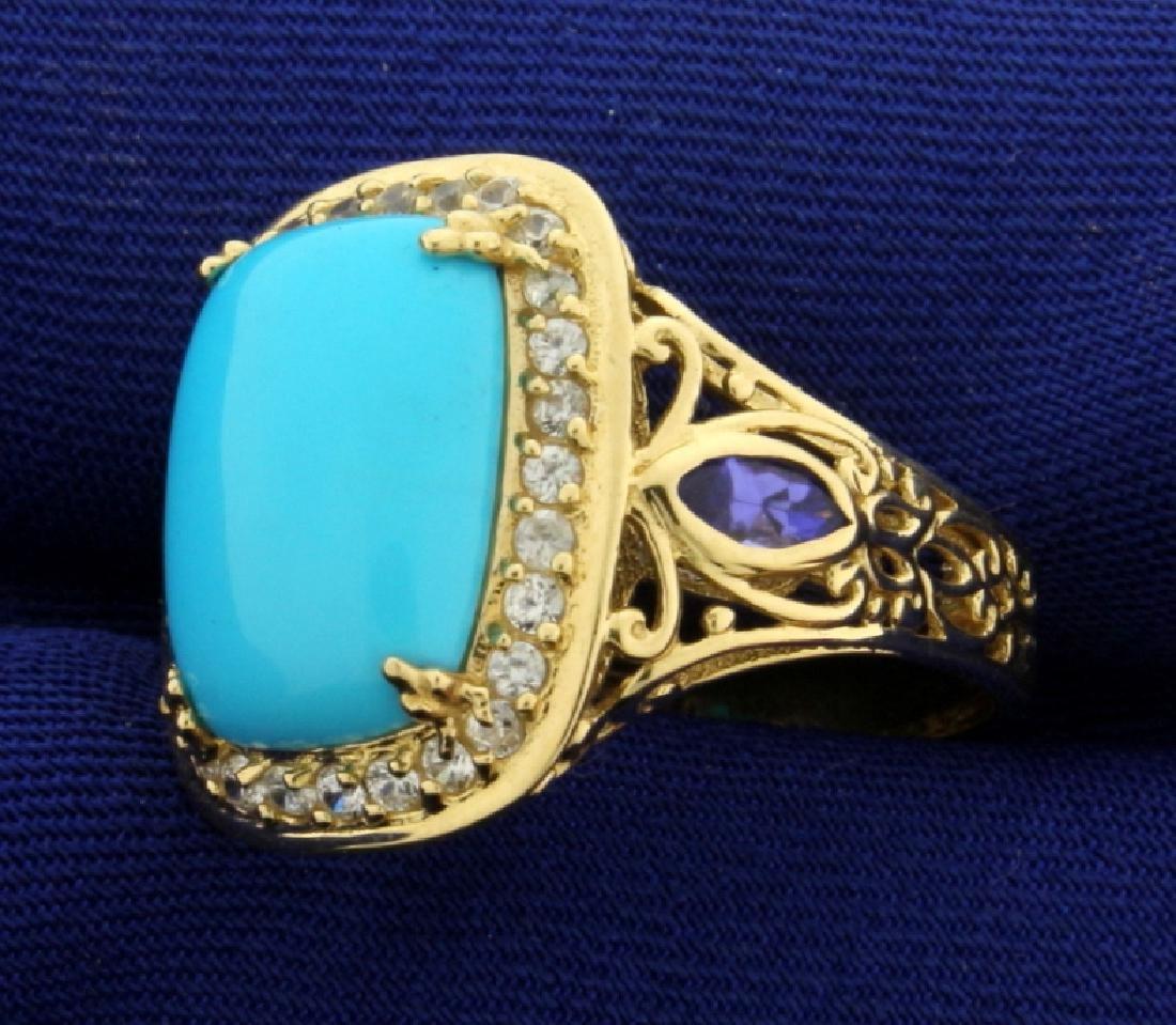 Persian Turquoise, Tanzanite, and White Sapphire Ring - 2