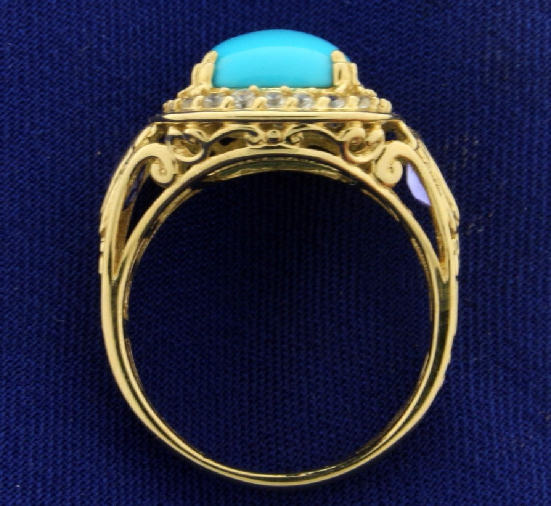 Persian Turquoise, Tanzanite, and White Sapphire Ring - 3