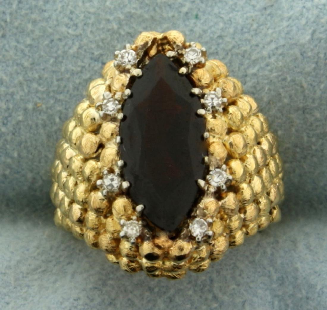 Custom Designed Vintage Garnet and Diamond Ring