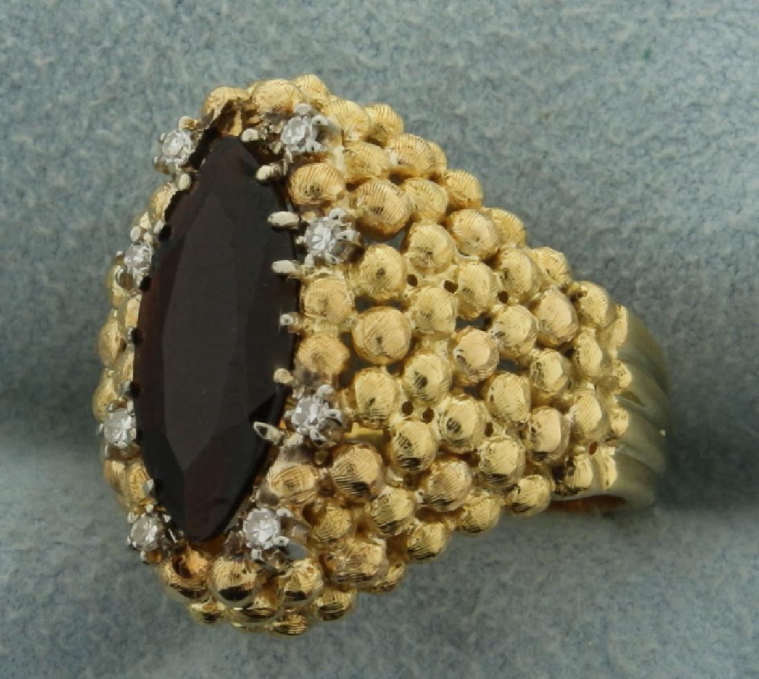 Custom Designed Vintage Garnet and Diamond Ring - 2