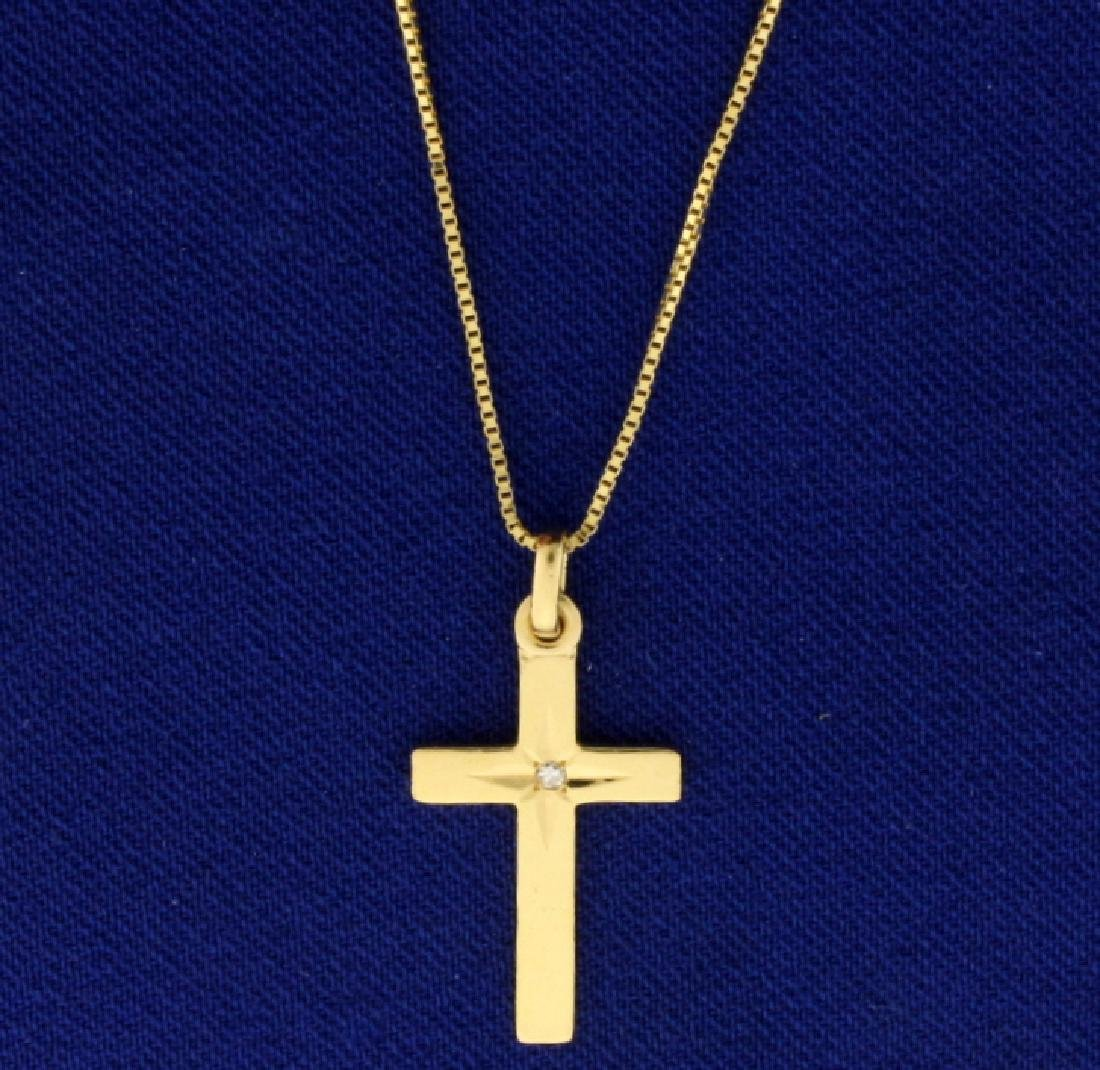 18 Inch Diamond Cross Pendant and Chain