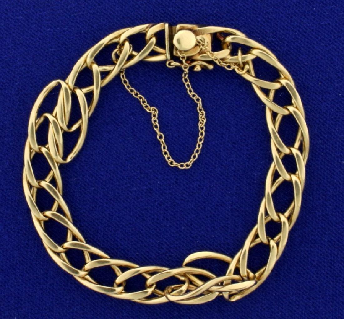 7 Inch Twisting Oval Link Bracelet in 14k Gold