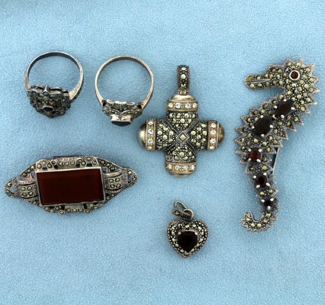 Vintage 6 Piece Sterling Silver Marcasite Jewelry Set
