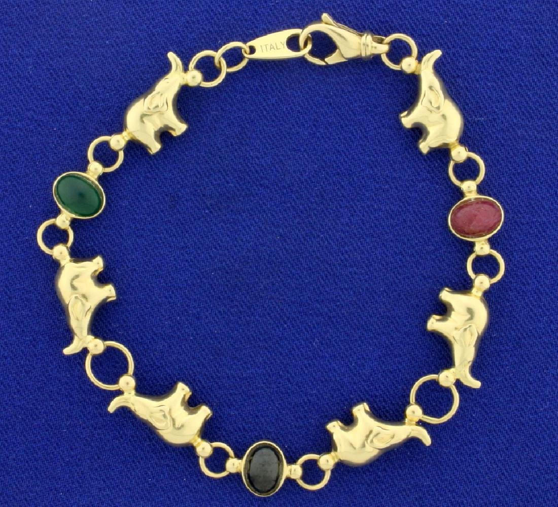 Vintage Italian Made Emerald, Ruby, and Sapphire