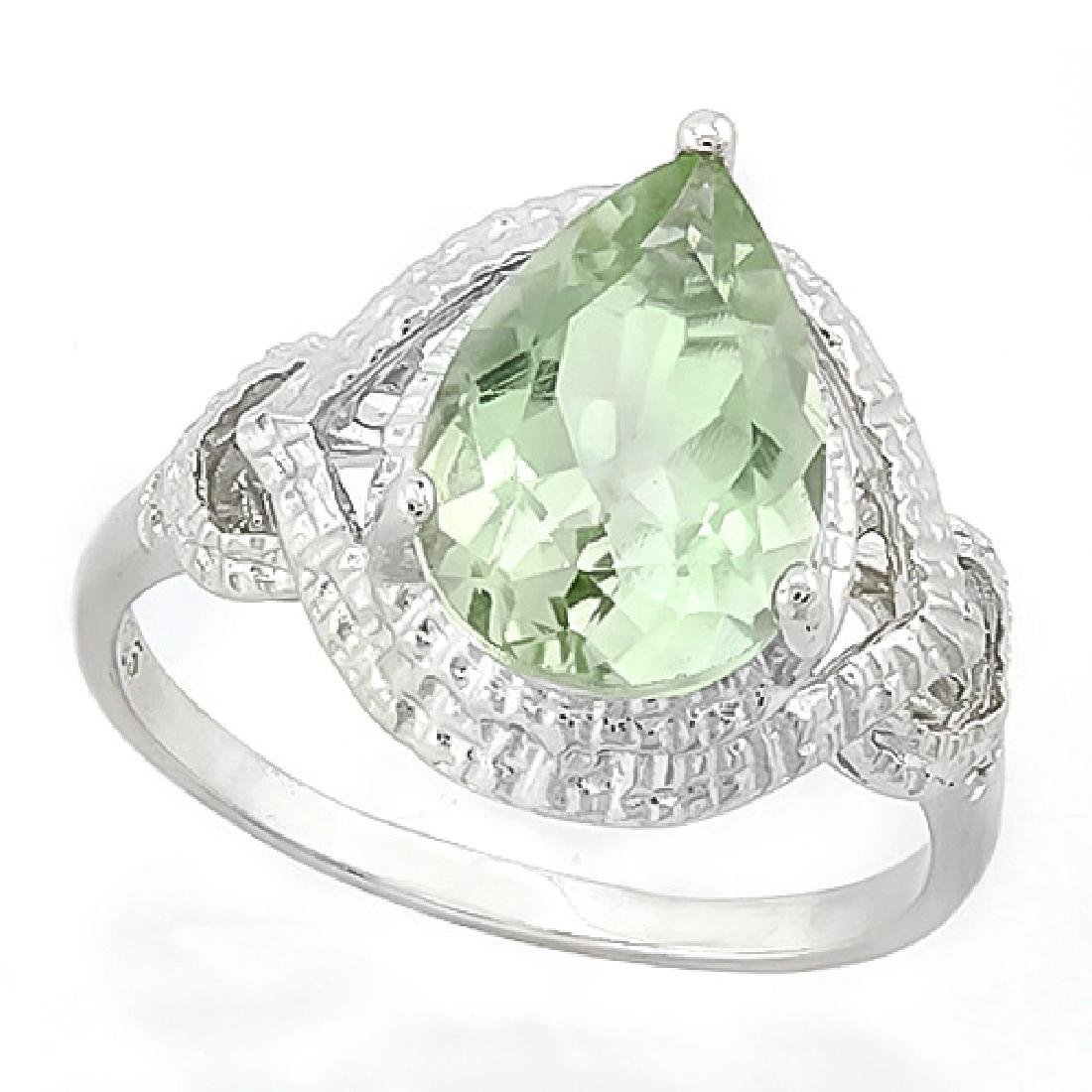 Green Amethyst Statement Ring with Diamonds in Sterling