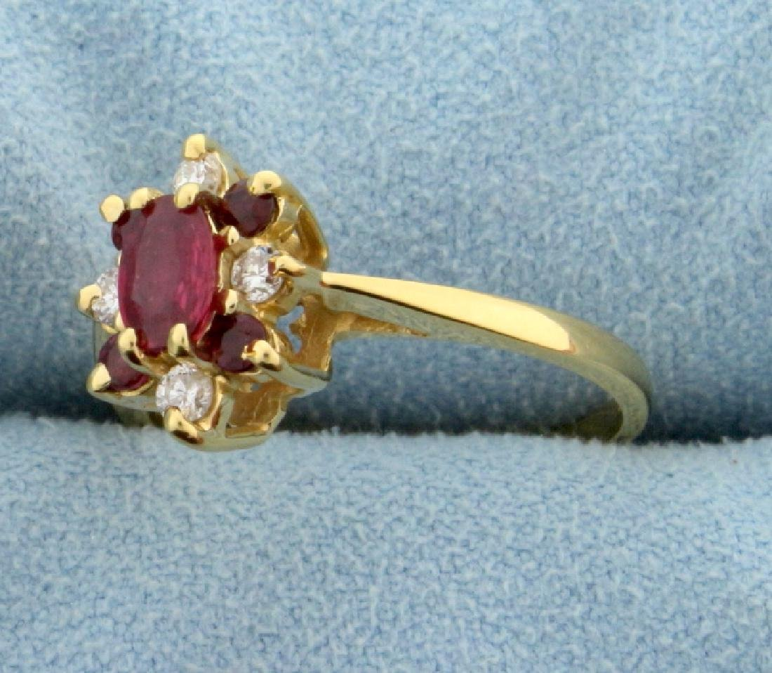 Natural Ruby and Diamond Ring - 2