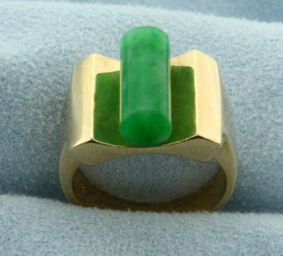 Unique Natural Jade Ring in 14k Gold