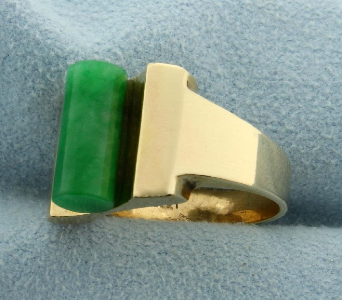 Unique Natural Jade Ring in 14k Gold - 2