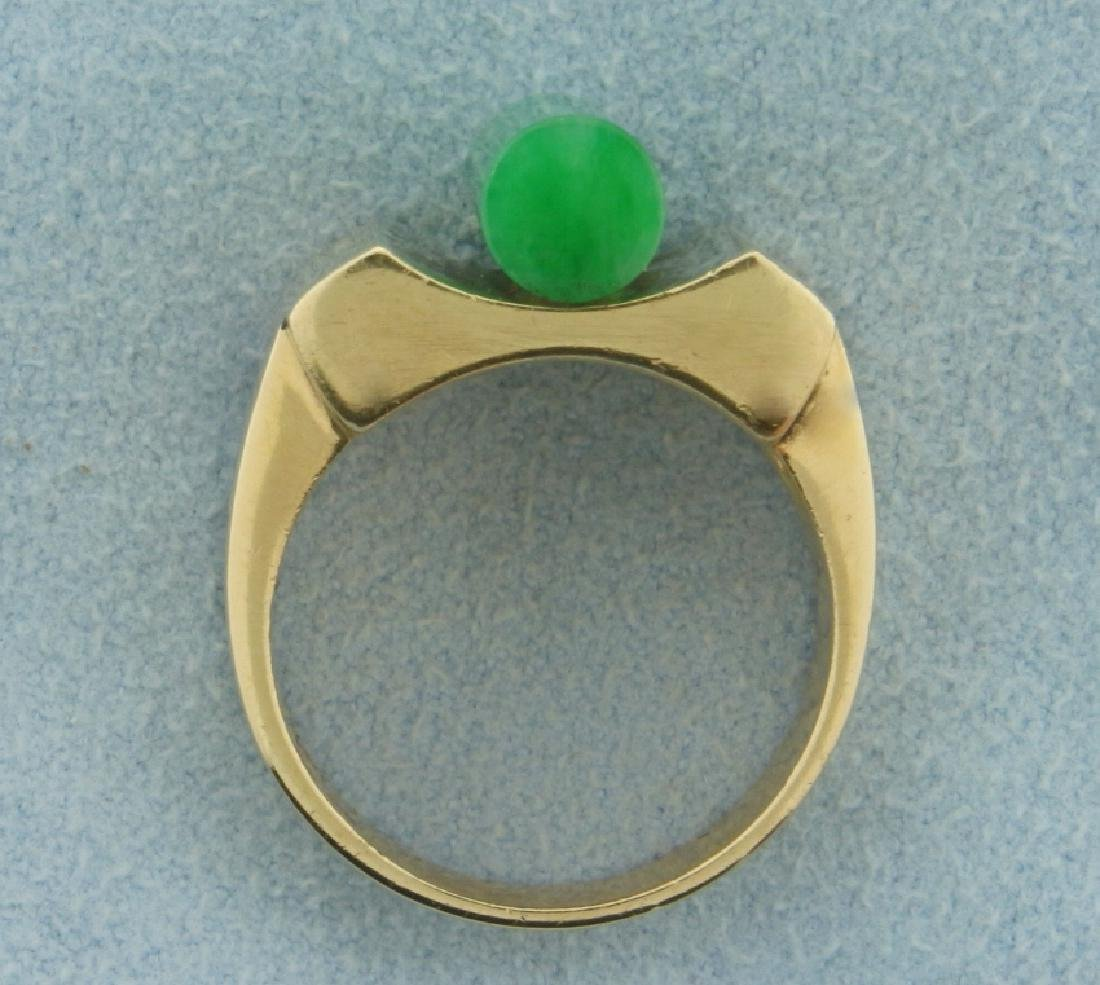 Unique Natural Jade Ring in 14k Gold - 3