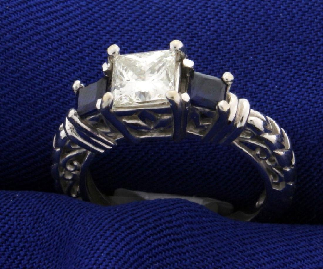 "1 carat Princess cut ""Leo"" Diamond ring with Sapphires - 2"