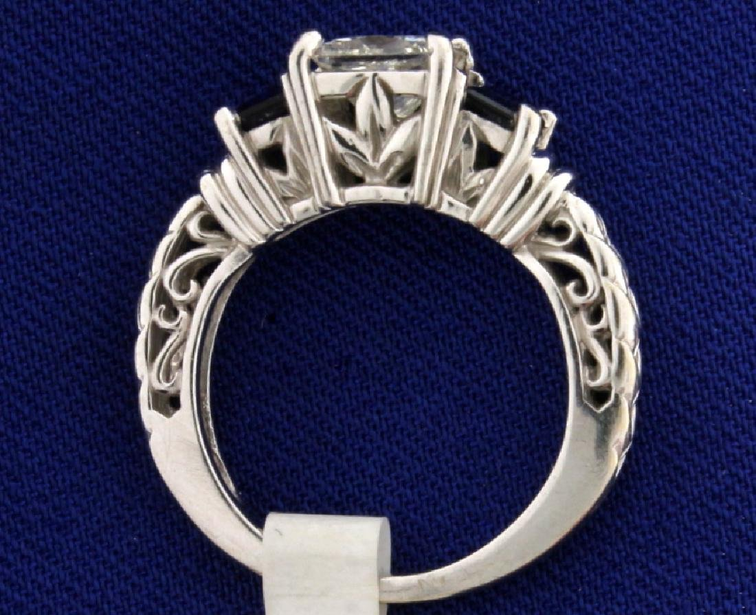 "1 carat Princess cut ""Leo"" Diamond ring with Sapphires - 3"