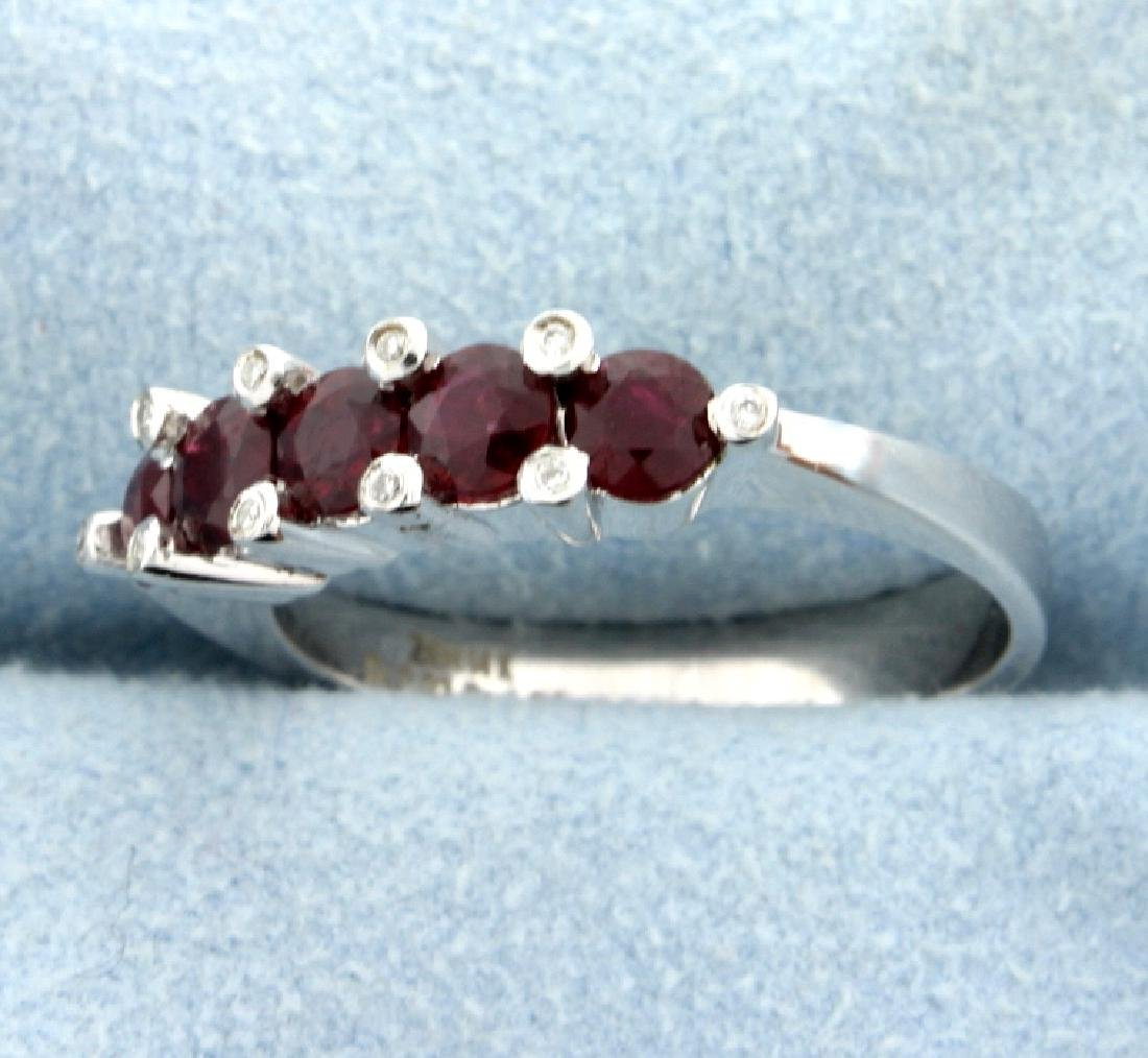 Natural Ruby and Diamond Band Ring - 2