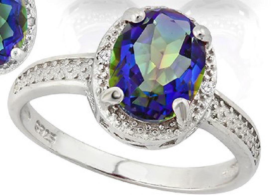 Large 2.5 Carat Ocean Mystic Topaz and Diamond Ring in