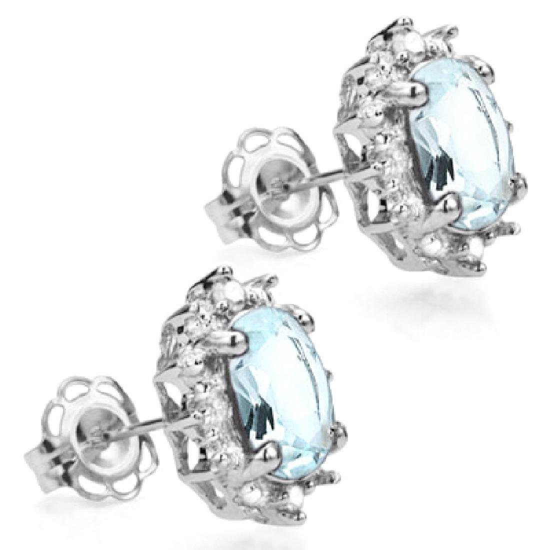 Aquamarine and Diamond Earrings in Sterling Silver - 2