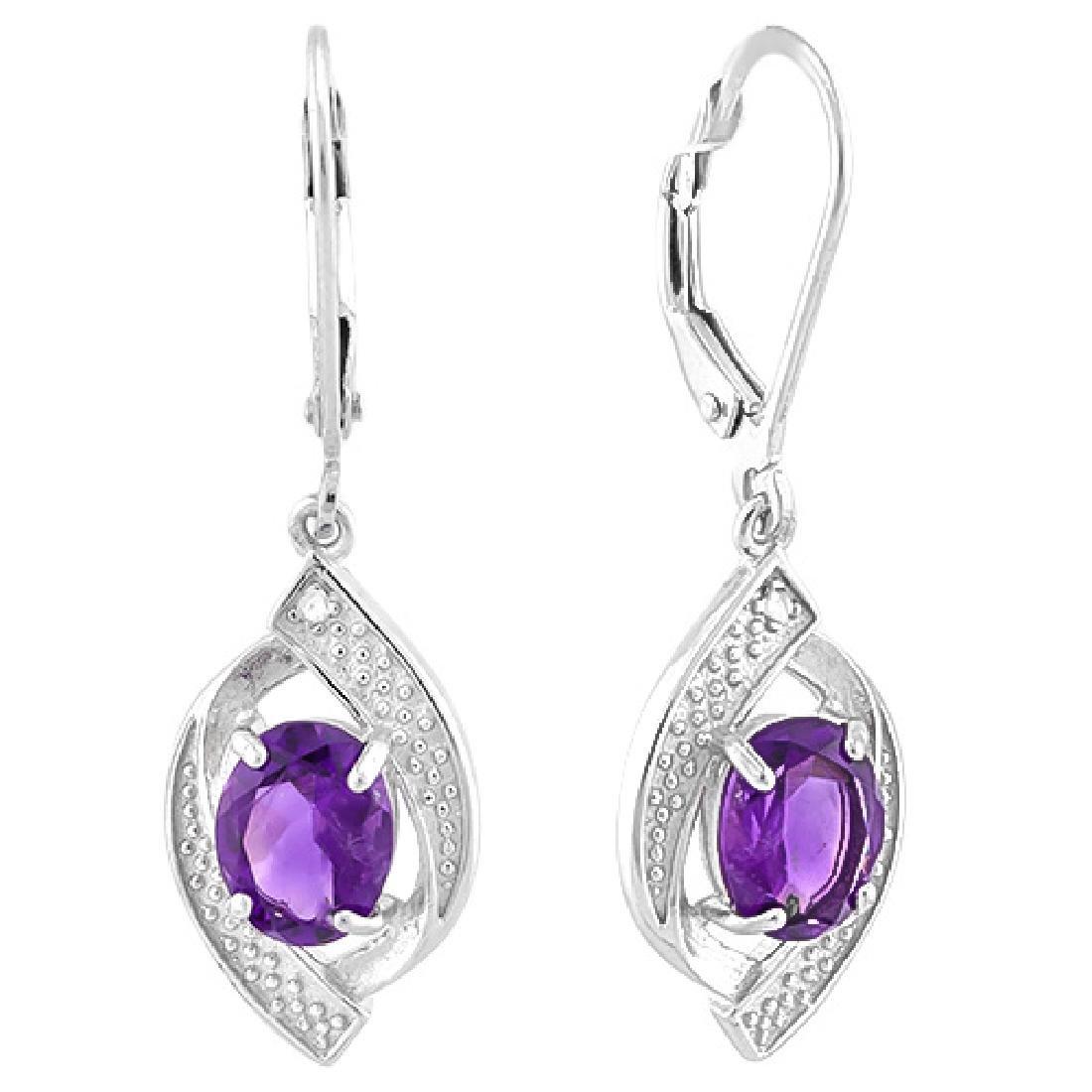 Amethyst and Diamond Dangle Earrings - 2