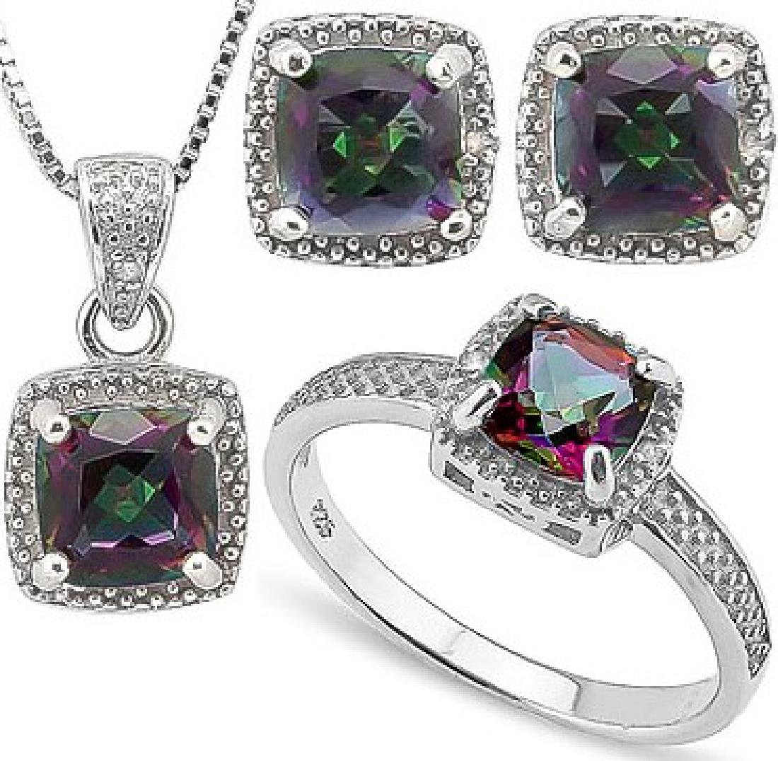 Cushion Cut Mystic Topaz and Diamond Ring Earring and