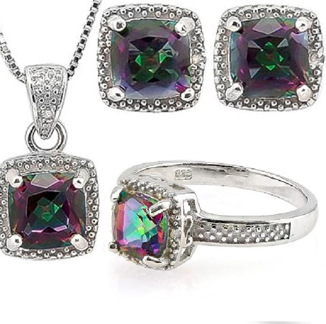 Cushion Cut Mystic Topaz and Diamond Ring Earring and - 2