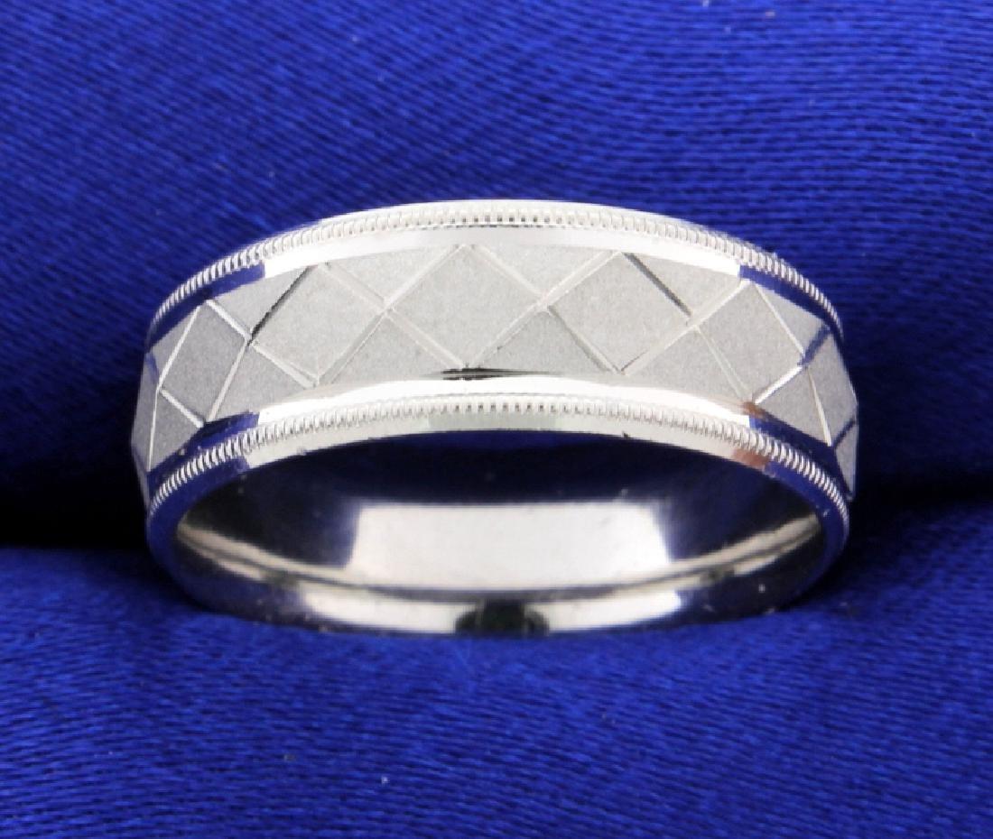 Platinum Unique Engraved Pattern Wedding Band Ring