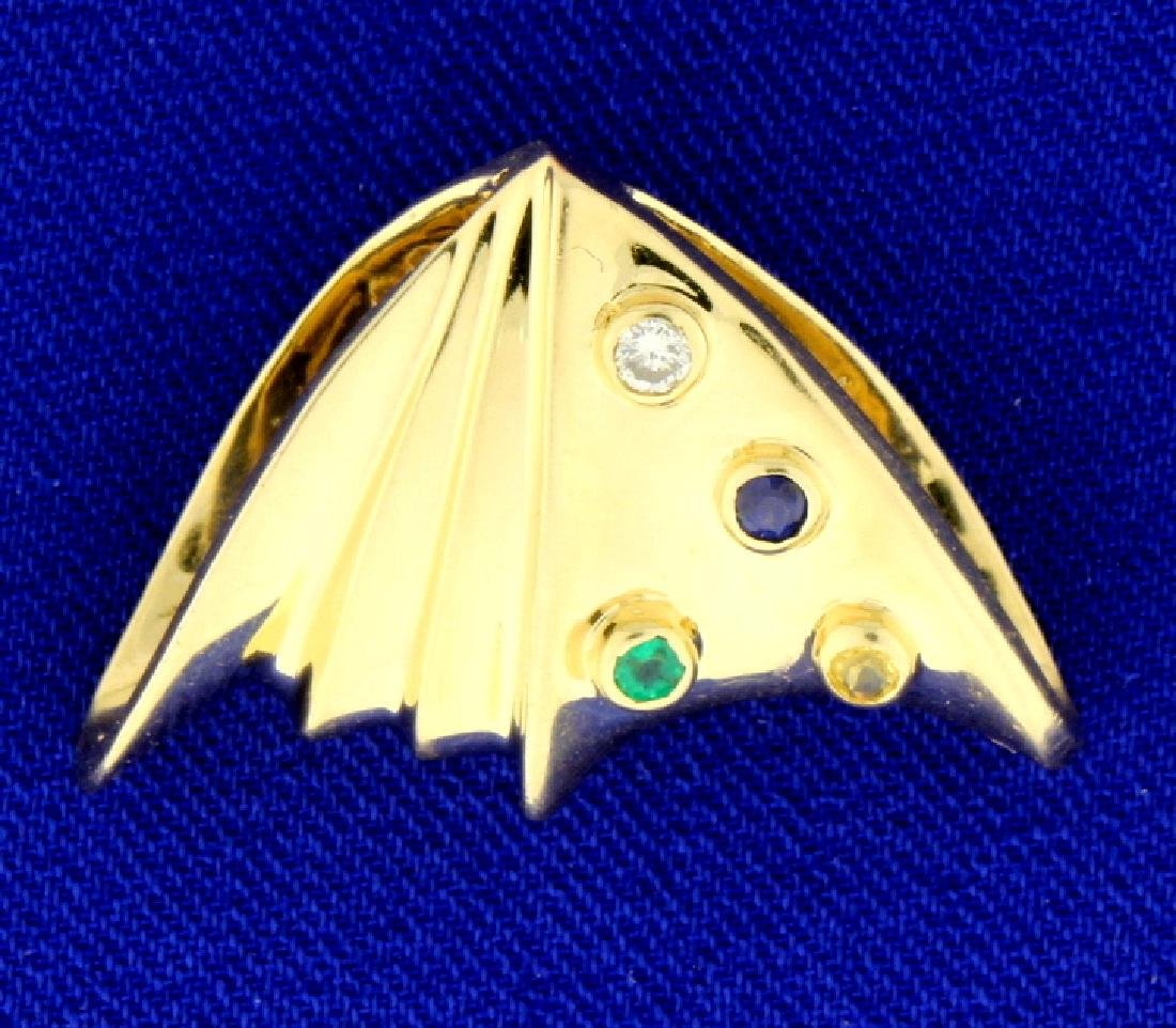 Diamond, Emerald, and Sapphire Omega or Chain Slide