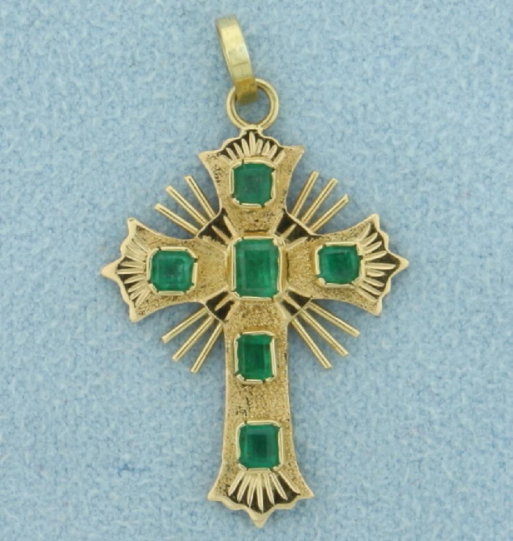 Natural Columbian Emerald Cross Pendant in 18k gold