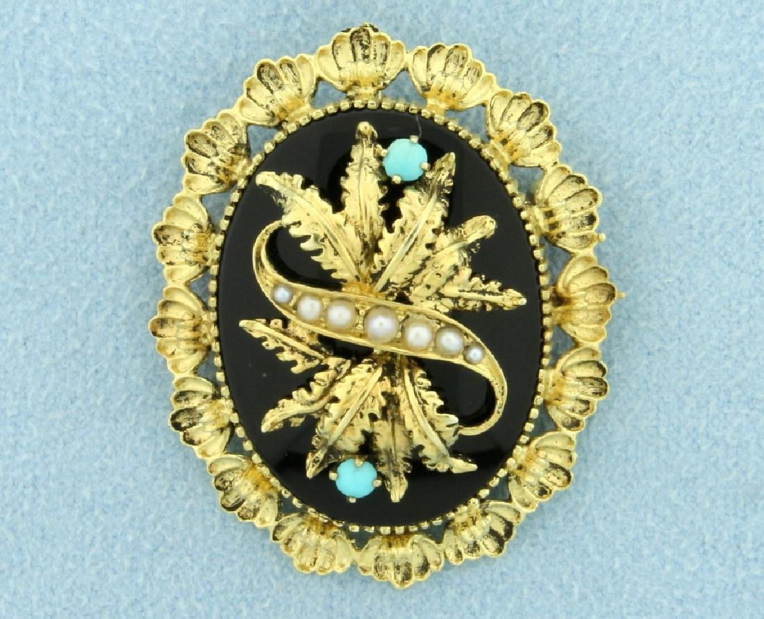 Antique Victorian Era Onyx, Seed Pearl, and Turquoise