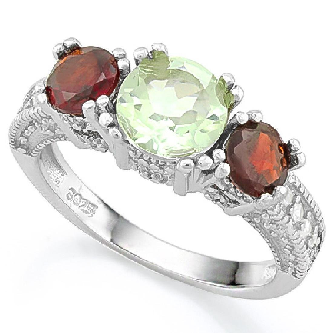 Garnet and Green Amethyst 3 Stone Ring in Sterling