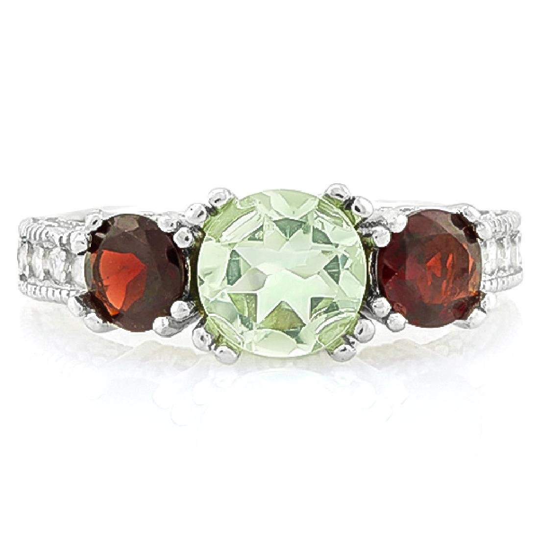 Garnet and Green Amethyst 3 Stone Ring in Sterling - 2