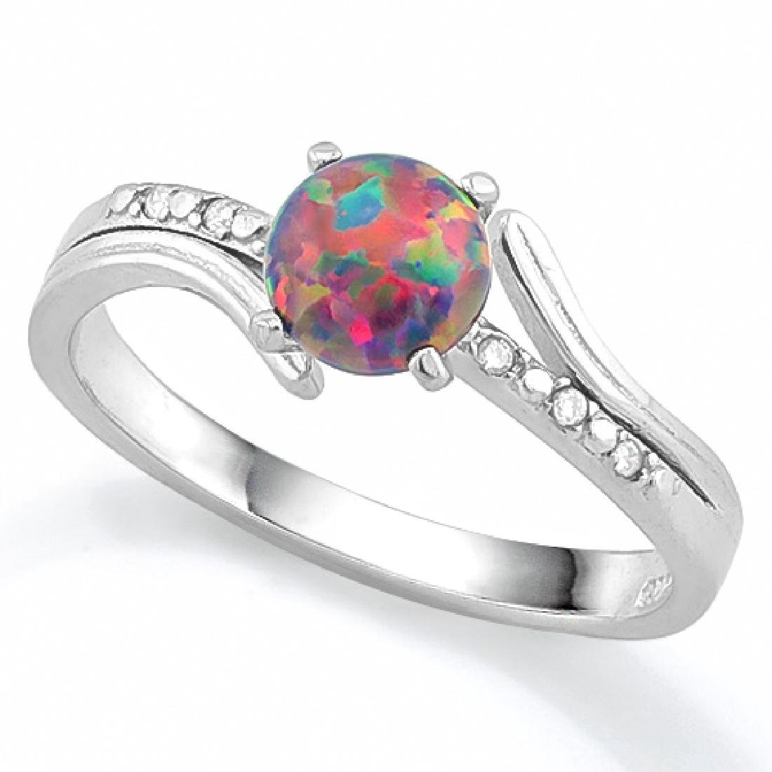 Black Opal and White Sapphire Ring in Sterling Silver