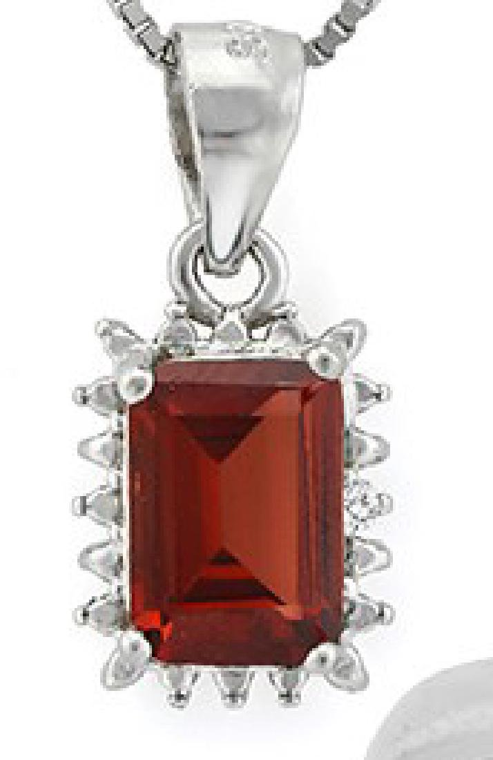 Garnet and Diamond Earrings and Pendant SET in Sterling - 2