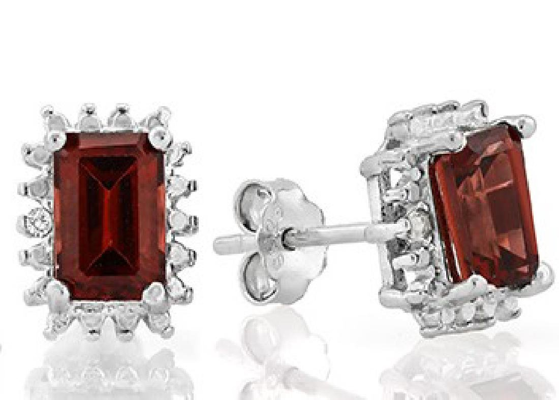 Garnet and Diamond Earrings and Pendant SET in Sterling - 3