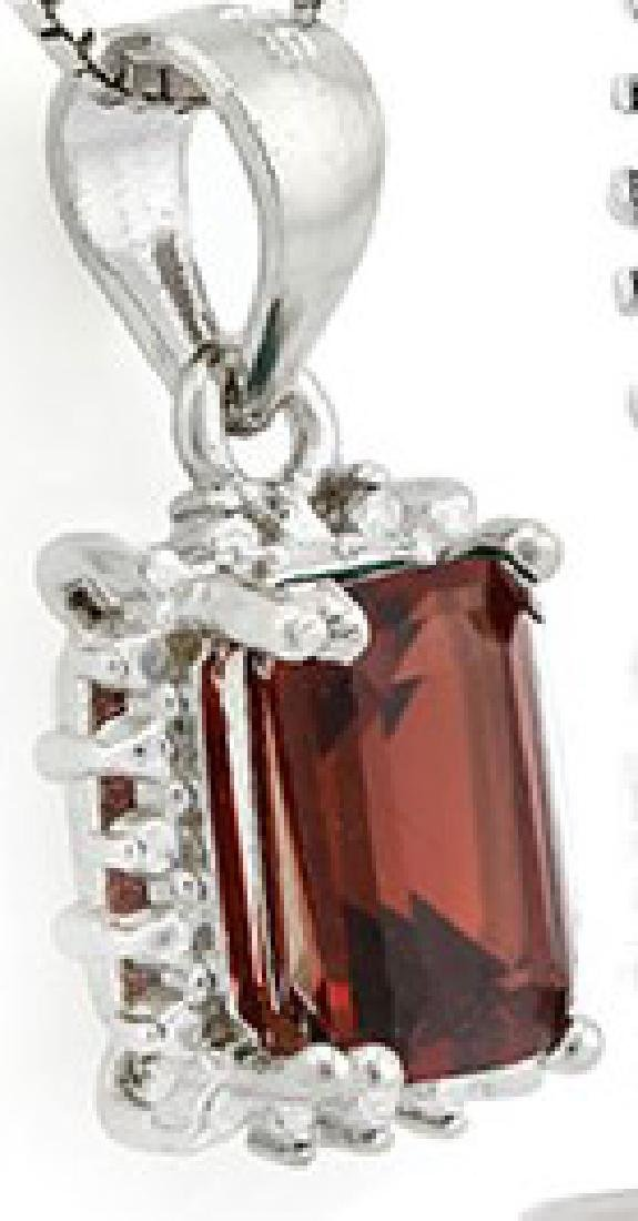 Garnet and Diamond Earrings and Pendant SET in Sterling - 4