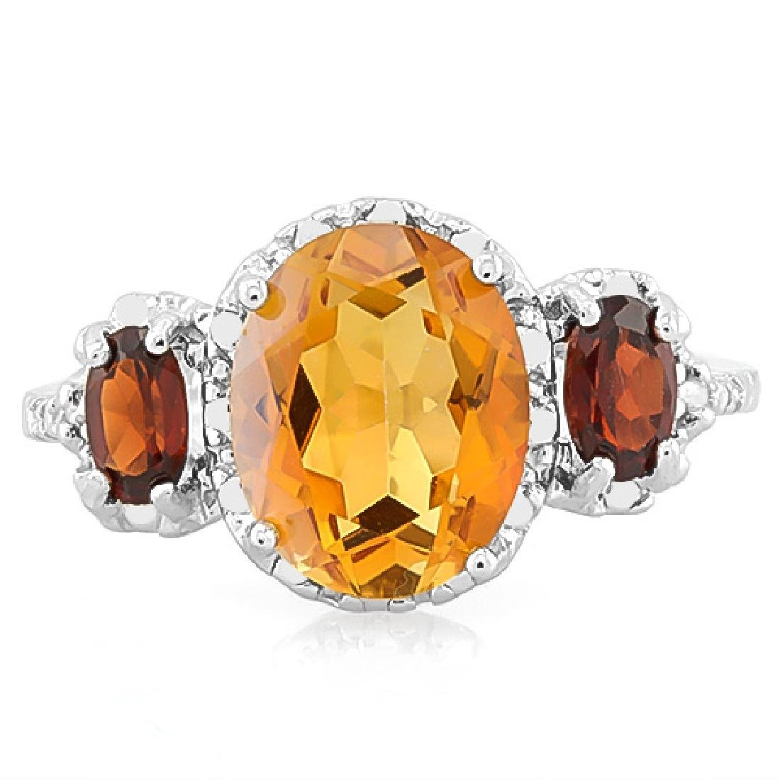 Deep Citrine and Garnet Ring in Sterling Silver - 2