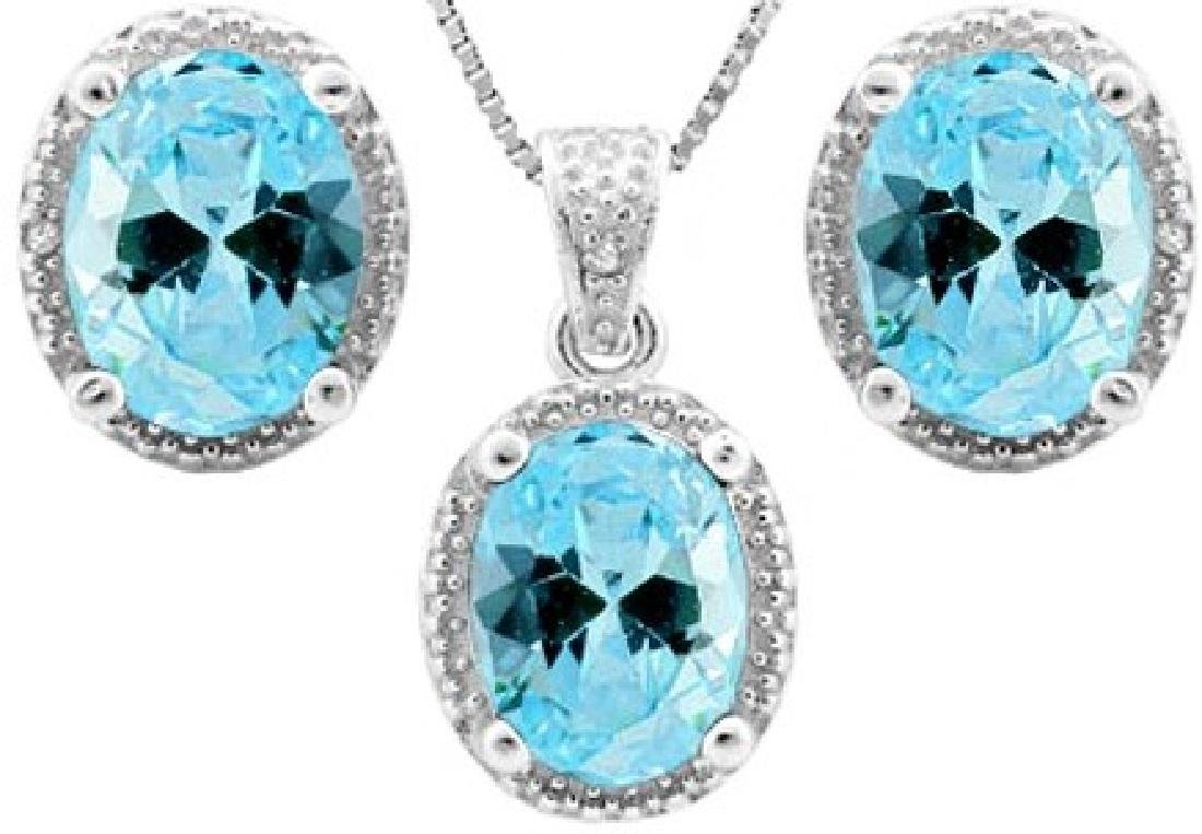 Sky Blue Topaz 7CTW Halo Style Earrings and Pendant SET