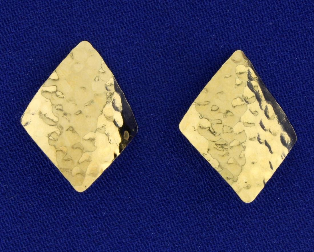 Diamond Shaped Gold Hammered Earrings