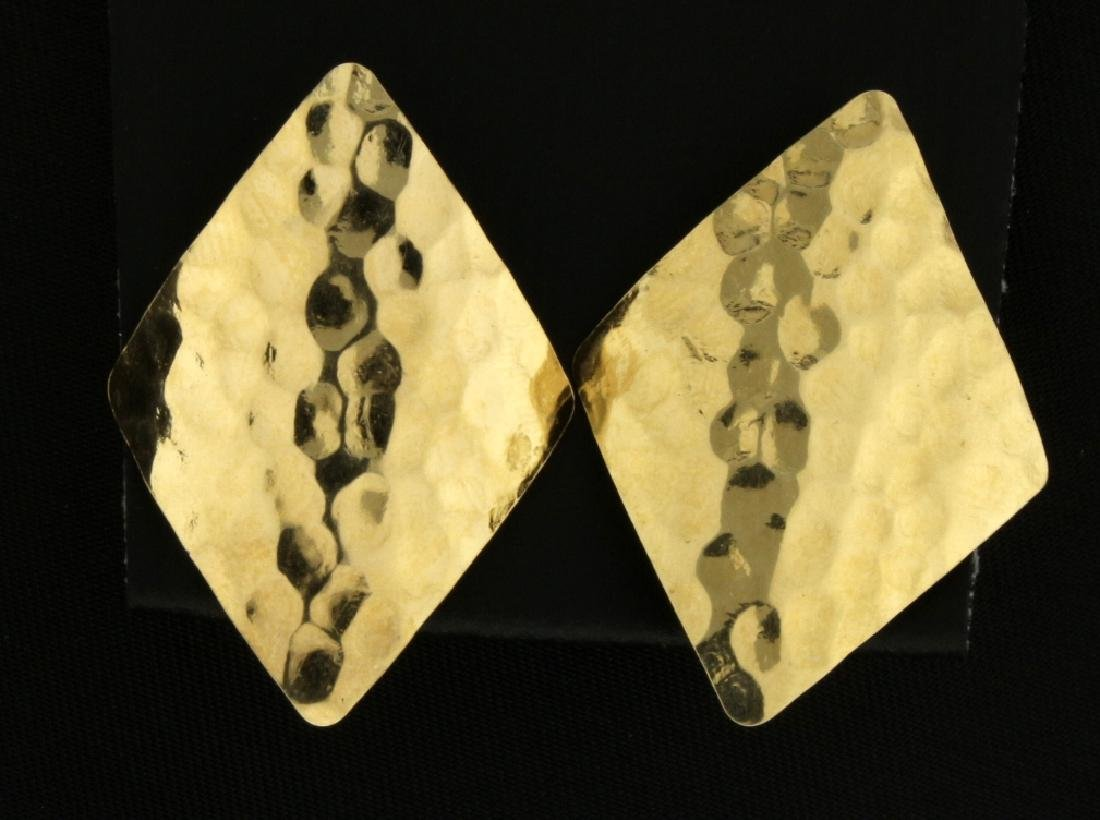 Diamond Shaped Gold Hammered Earrings - 2
