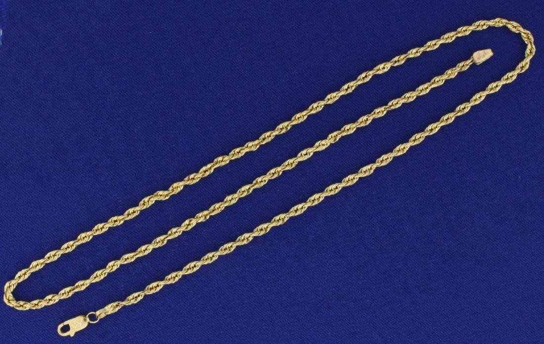 20 Inch Rope Style Neck Chain in 14k Yellow Gold