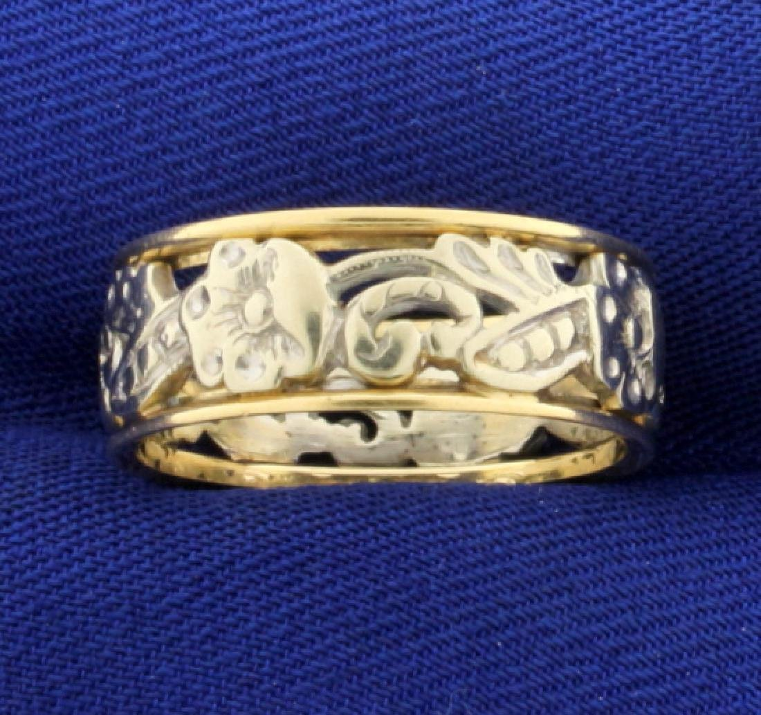 14k Yellow and White Gold Flower Design Band Ring - 2