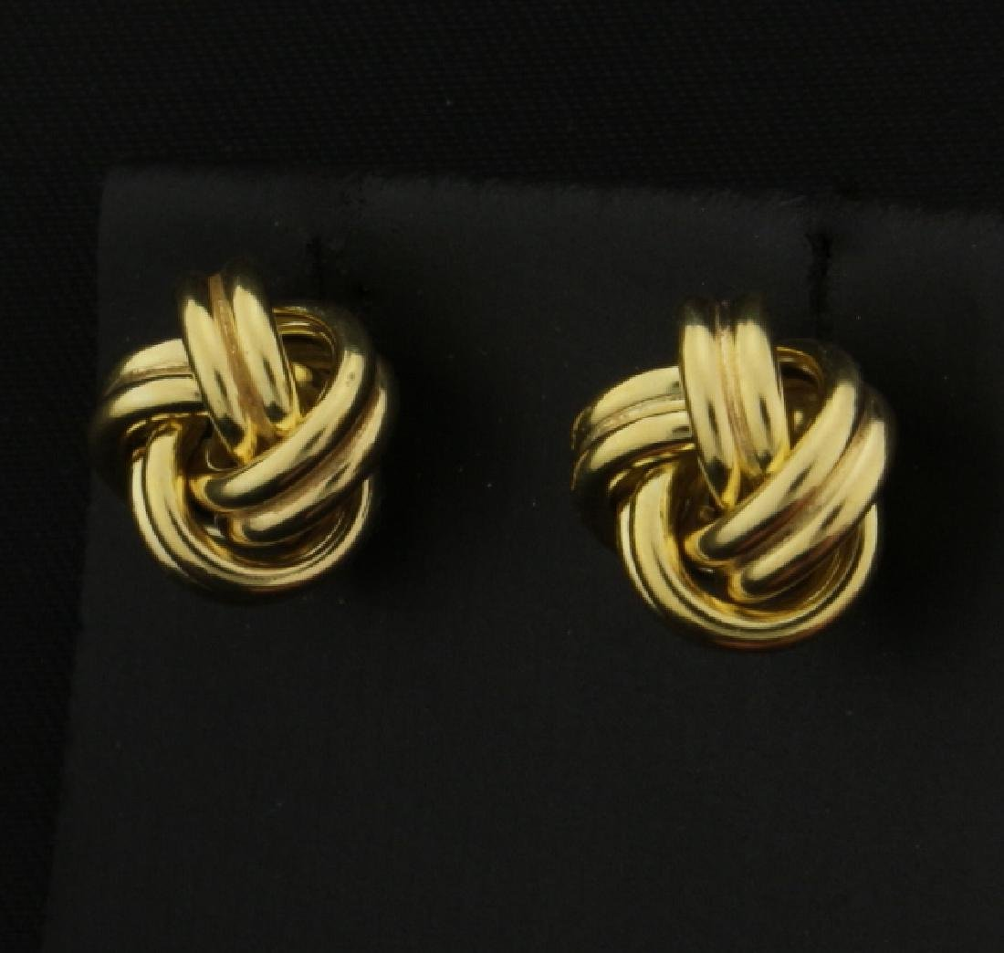 Italian Made Knot Design 14k Gold Earrings - 2