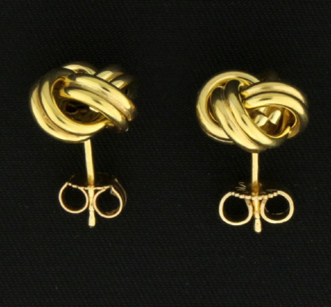 Italian Made Knot Design 14k Gold Earrings - 3